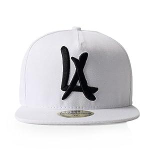 LEEYA N10 Classic Punk Hip-Hop Baseball Cap,Flat-Brimmed Hat,100% Cotton Adjustable Snapback Hat for Men Or Women (White)