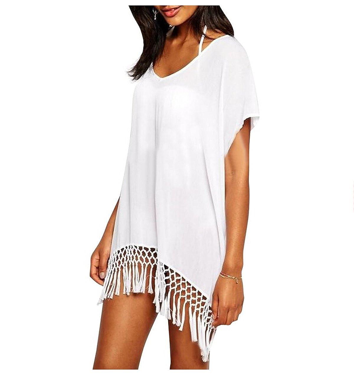 ieasysexy Women's Knitted Crochet Tunic Beach Bikini Dress V-neck Cover-ups