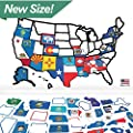 "RV State Sticker Travel Map - 21"" x 14.5"" - USA States Visited Decal - United States Non Magnet Road Trip Window Stickers - Trailer Supplies & Accessories - Exterior or Interior Motorhome Wall Decals"