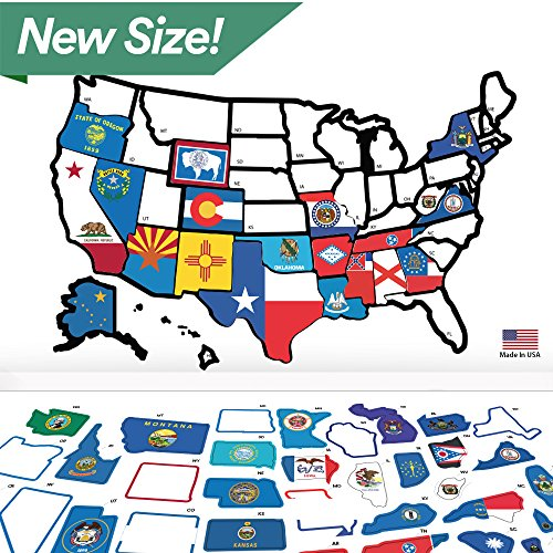 RV State Sticker Travel Map - 21'' x 14.5'' - USA States Visited Decal - United States Non Magnet Road Trip Window Stickers - Trailer Supplies & Accessories - Exterior or Interior Motorhome Wall Decals by Lushleaf Designs