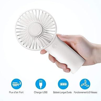 isYoung Mini Ventilador de Mano - USB 4000mAh Rechargeable ...