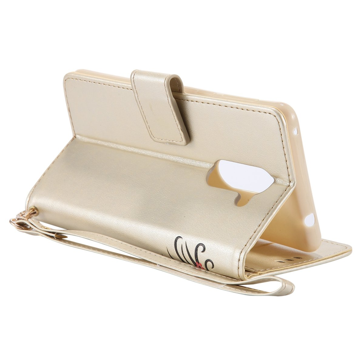 Felfy Elegant Huawei Honor 6X H/ülle Leder,Huawei Honor 6X Case Leder D/ünn,Huawei Honor 6X Tasche Leder Golden Flip Wallet Bookstyle Handyh/ülle M/ädchen und Katze 3D Pr/ägung Muster Nacht Leuchtende Luminous Lederh/ülle Magnetvers