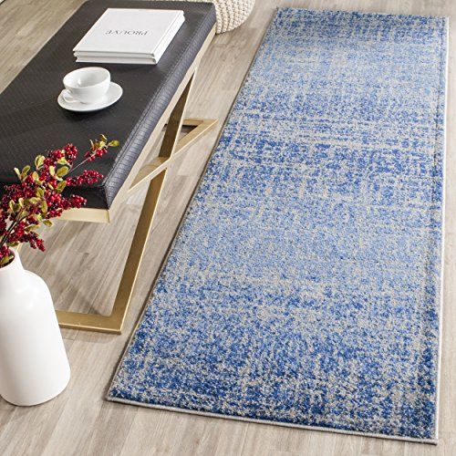 10' X 2'6 Blue Runner (Safavieh Adirondack Collection ADR116D Blue and Silver Modern Abstract Distressed Runner (2'6