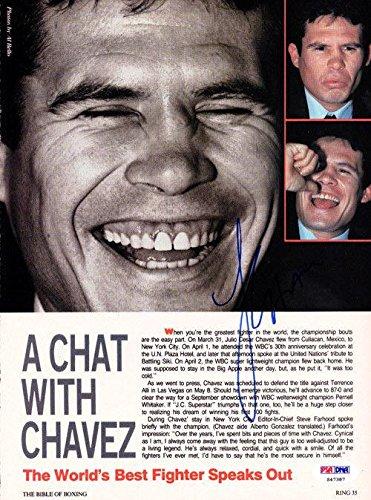 Julio Cesar Chavez Autographed Signed Magazine Page Photo S47387 PSA/DNA Certified Autographed Boxing Magazines