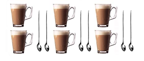 Juego de 6 copas de Premium Latte Tazas de 250 ml, 8.8oz) +