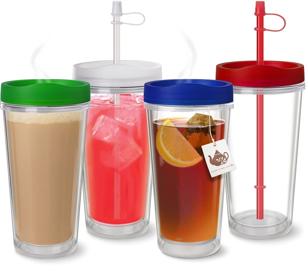 USA Made Clear Thermal Tumbler with Multi Color Lids & Straws - Set of 4 - Double Wall Insulated- USA Made Acrylic - 16 oz.
