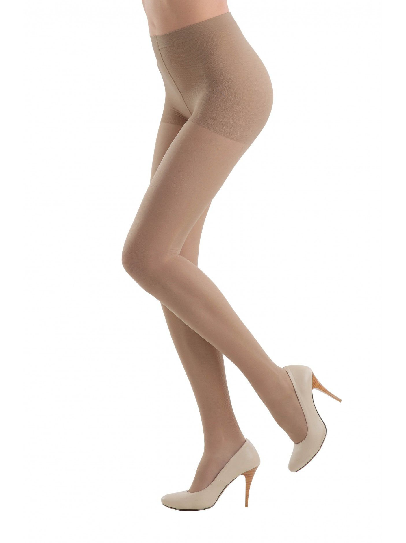 Conte elegant Womens High Waisted Compression Pantyhose Tights with Control Top Active 40,Nude (Natural),Large