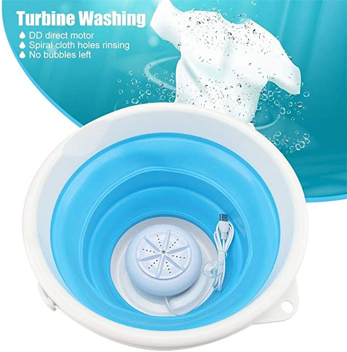 Personal bucket Turbines Washing Machine for Camping, Apartments, RV/'s, Delicates 100W Portable Mini Folding Clothes Washer Washing Machine blue /& white