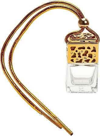 Itimo Auto Zum Aufhängen Parfüm Leer Glas Flasche Für ätherische Öle Diffusor Rückspiegel Ornament Lufterfrischer Duft Gold Auto