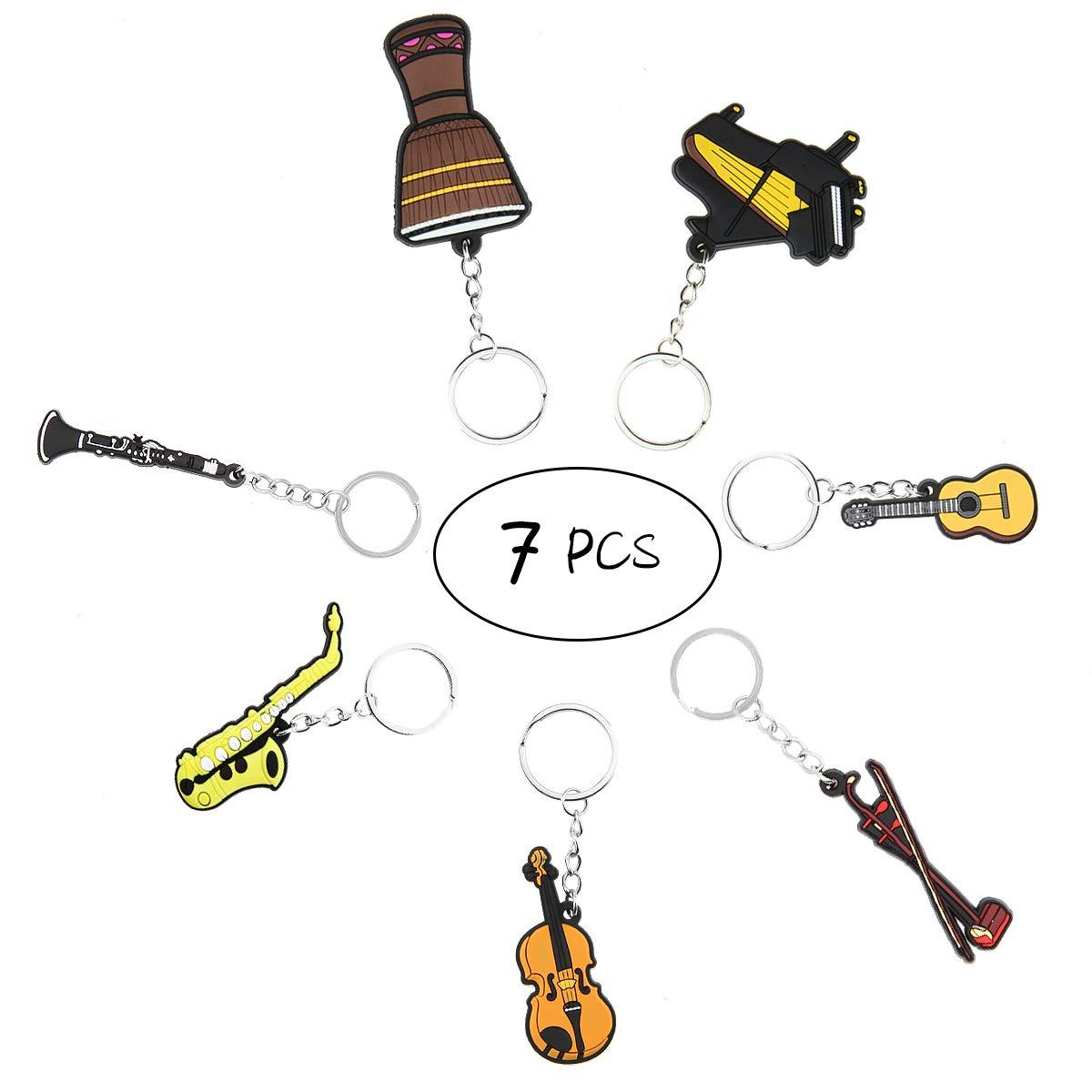 Conjunto de 7 Mini Creativa color brillante musical instrumento llavero llavero Figura para decoración de regalo