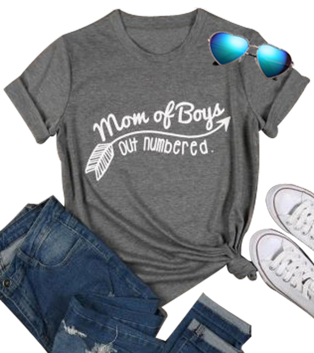 YUYUEYUE Mom of Boys Out Numbered T Shirt Letter Print Short Sleeve Tops Tee (XX-Large)