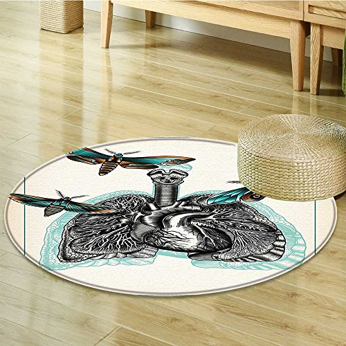 Anti-Skid Area Rug Art Man Body Lungs Internal Organ Physics with Several Moths Living Design Soft Area Rugs-Round 51""