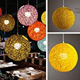 15cm Rattan Ball Lamp Holder Light Case Hanging Pendant(No Light Source) with E27 Suspension Wire and Round Sucking Disk(Yellow)