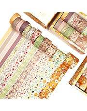 iReaydo Washi Tape Set of 12 Rolls Japanese Decorative Masking Tapes for DIY Decor, Planners, Scrapbook, Bullet Journal, Arts & Crafts - 4 Sizes: 30/20/15/10mm Wide Skinny and Thin