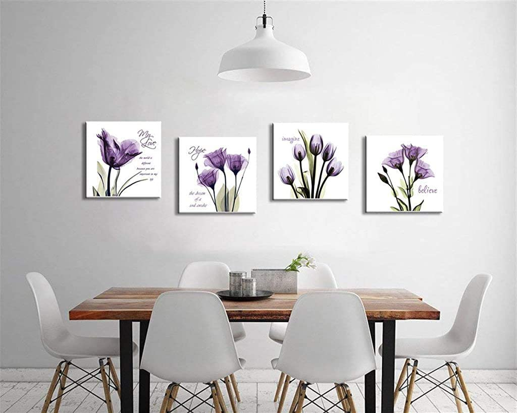 G'z Modern Flower Canvas Wall Art - Purple Tulip Canvas Print - Flickering Flower Wall Decor Quotes Sayings Artwork Framed Wall Paintings for Office Bathroom Kitchen Wall Decor (Purple, 12x12inchx4)
