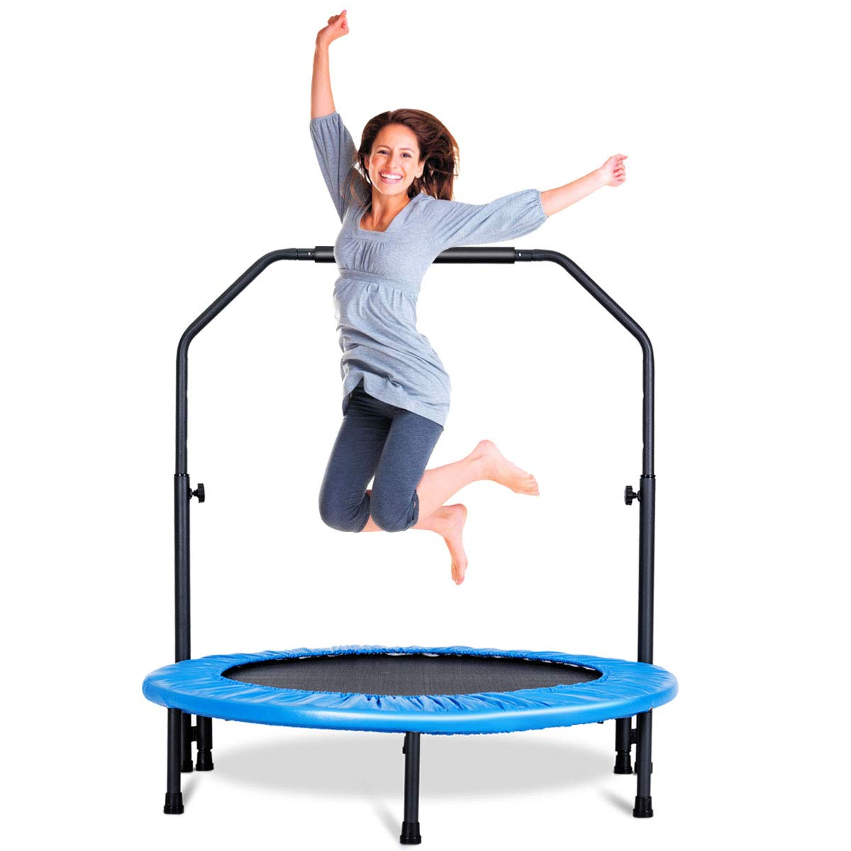 Giantex Mini Rebounder Trampoline with Handle Rail Bouncing Workout Fitness Exercise