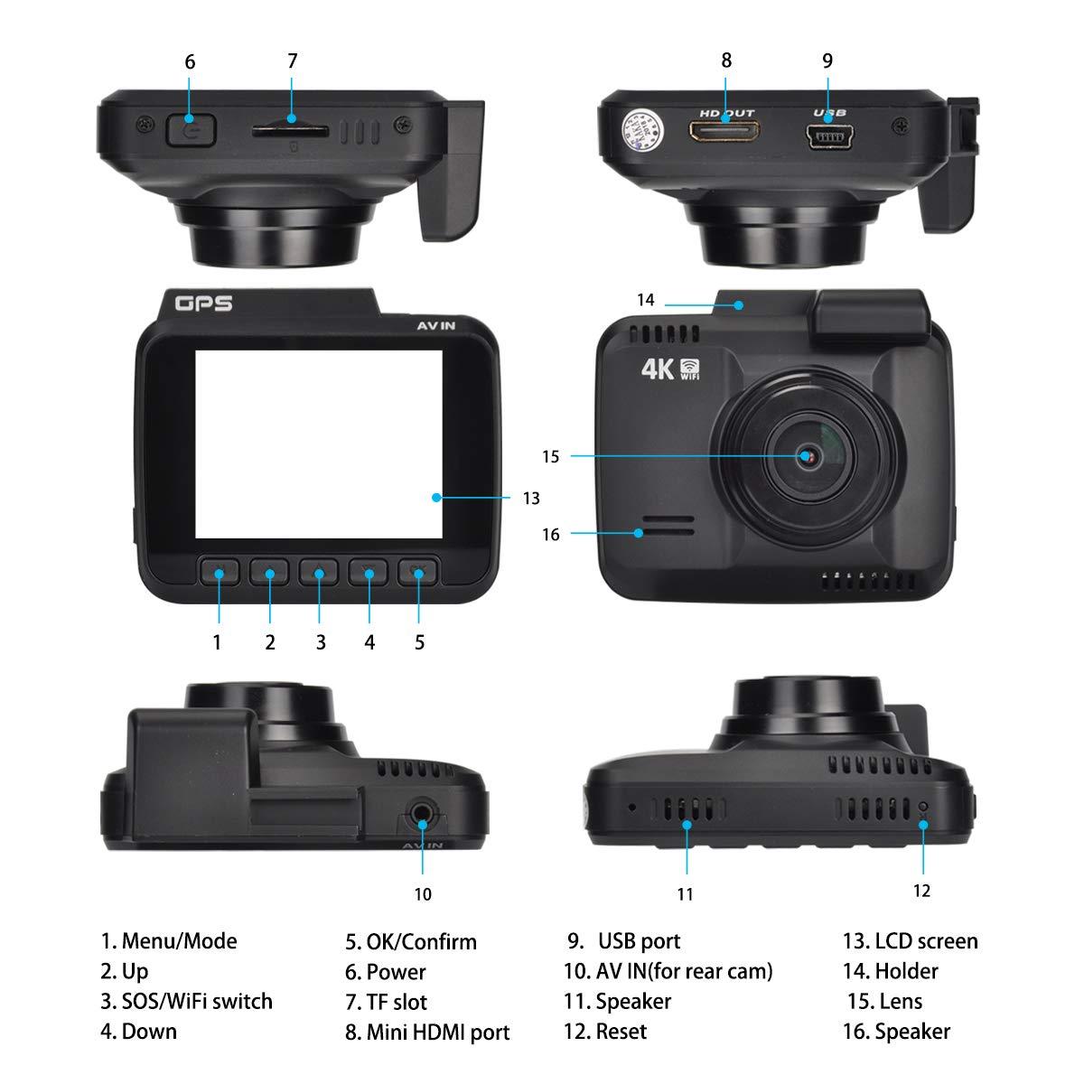 Novatek Chip G-Sensor Loop Recording Built-in WiFi GPS 4K Dash Cam G-Sensor 150/°Wide Angle Iseebiz XQ-CEA-0158 Parking Mode for Vehicle Truck etc Car Dashboard Camera Recorder