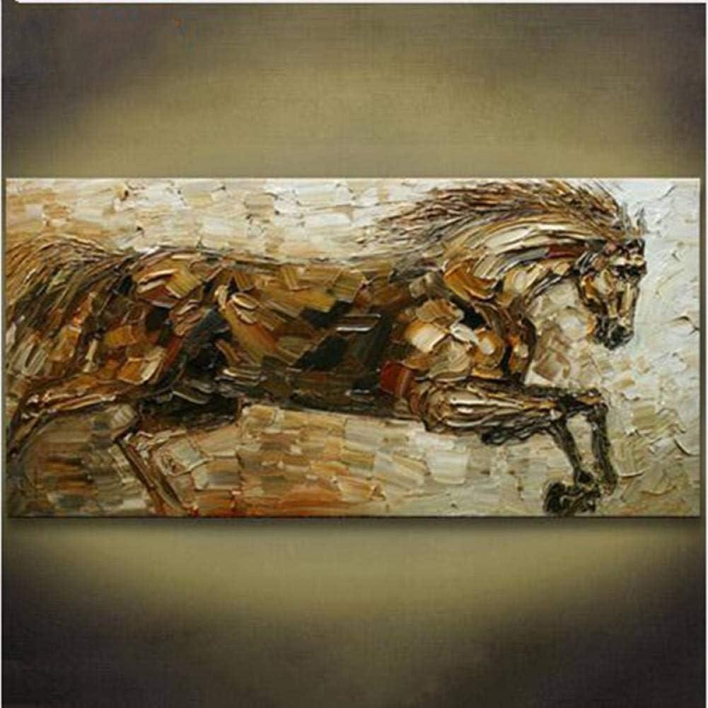 SUNNYWLH Pintura Mural Cuchillo Caballo Corriente Cuadros Pintados A Mano Pinturas Al Óleo Animales Abstractas sobre Lienzo Decoración para El Hogar Moderno Arte De La Pared Regalo Pintura Grande