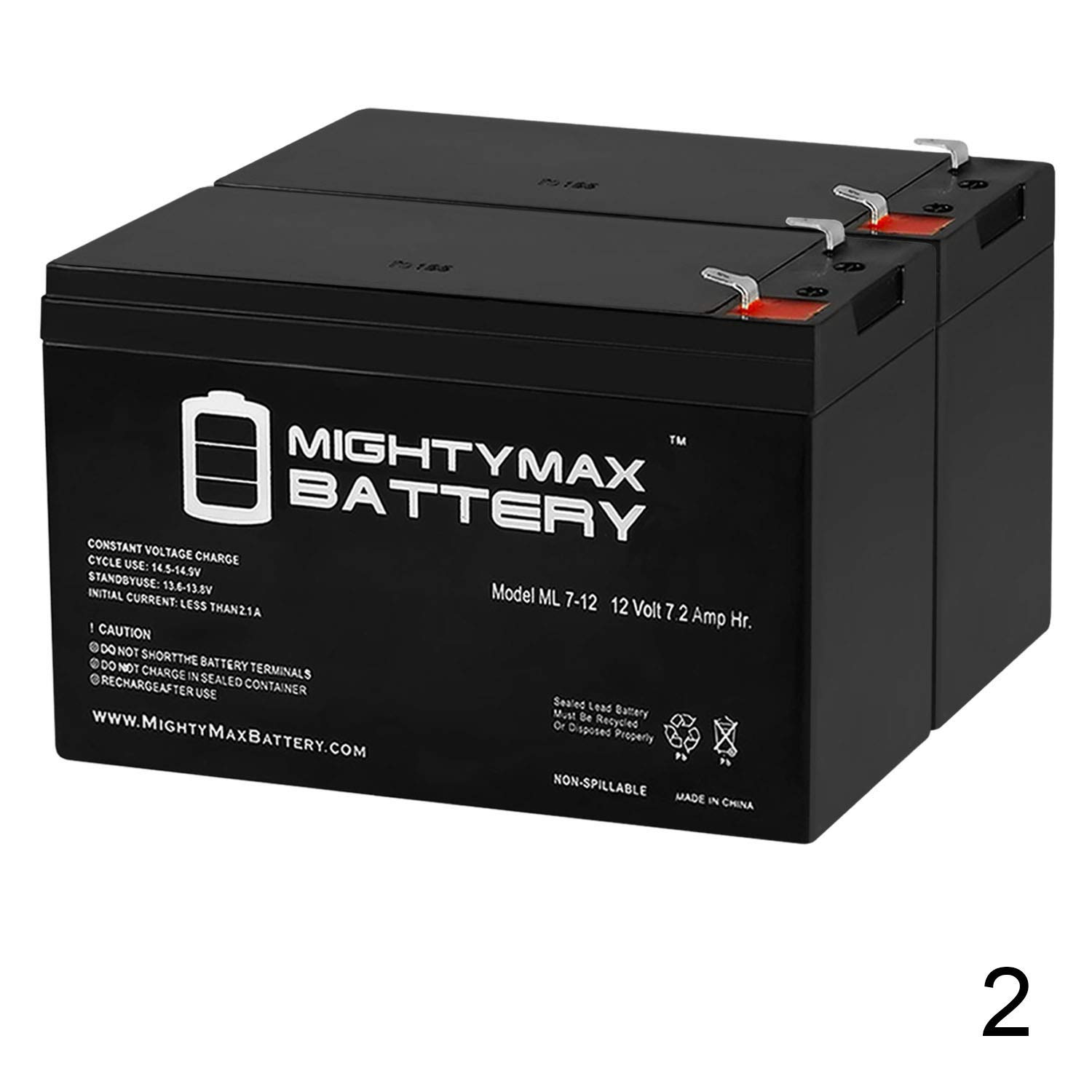 12V 7.2AH ENDURING 6-DW-7 Replacement Battery ML7-12 Mighty Max 4 Pack