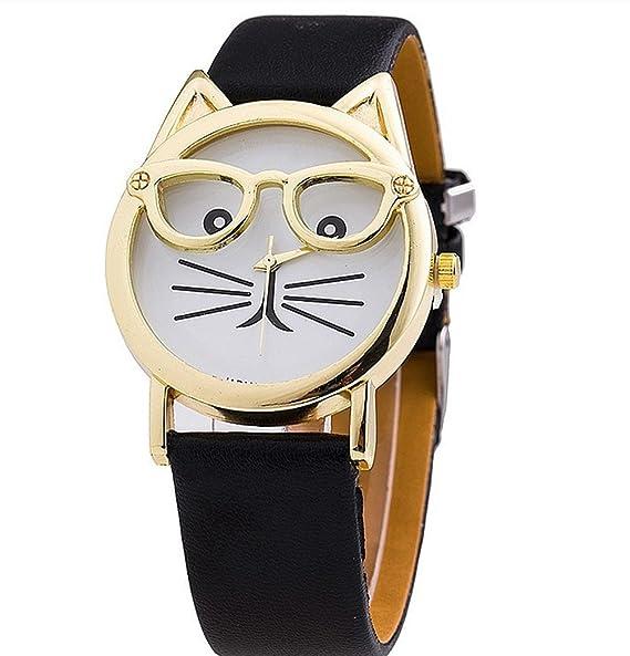 WANGSAURA® [2016 Nueva Versión] de moda gafas gato reloj correa de piel reloj relojes vestido de las mujeres reloj de pulsera reloj de cuarzo: Amazon.es: ...