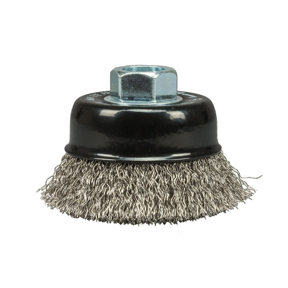 Forney 72801 Cup Brush Crimped, Stainless, 2-3/4' x .014' x 5/8'-11 Arbor 2-3/4 x .014 x 5/8-11 Arbor Forney Industries 72801.0