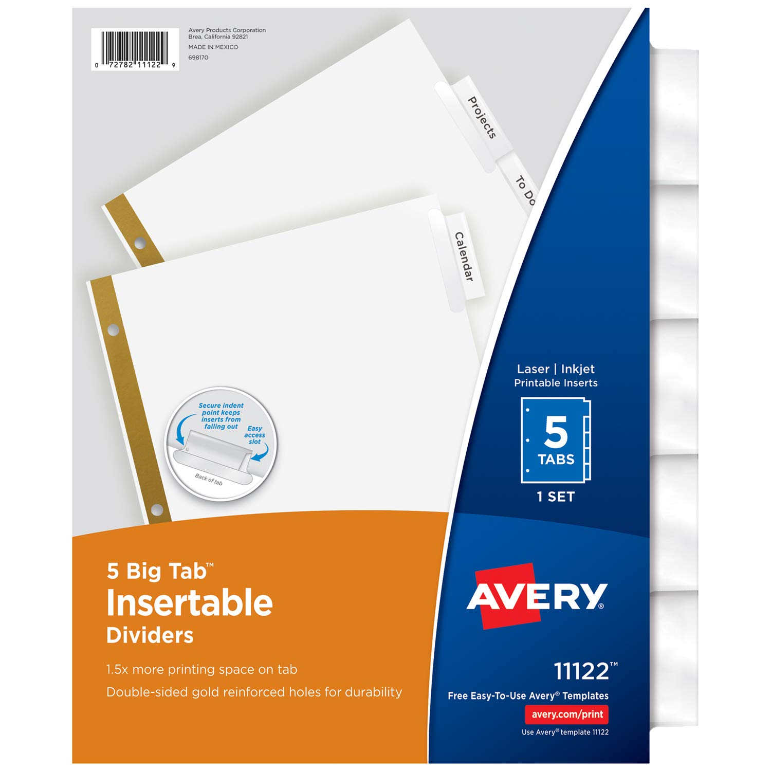 amazoncom avery big tab insertable dividers 5 clear tabs 1 set 11122 binder index dividers office products