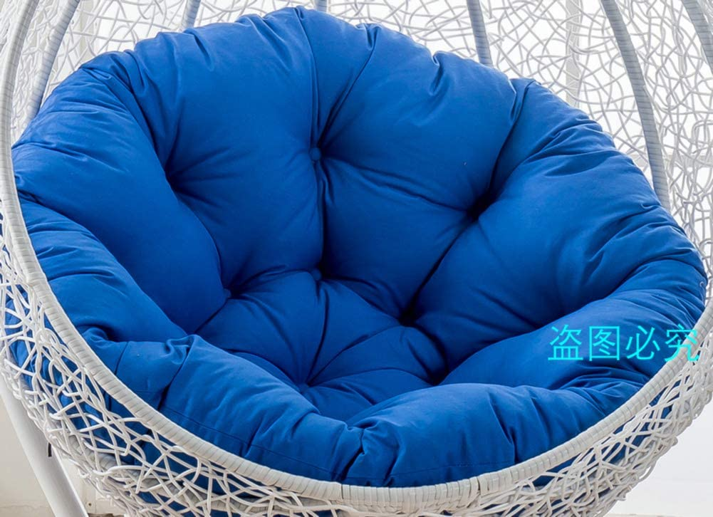 Hanging Chair Cushion Without Stand, Patio Garden Swing Wicker Rattan Egg Chair Hammock Pad Mat, Include Only Cushion-Dark Blue 105x105cm(41x41inch)