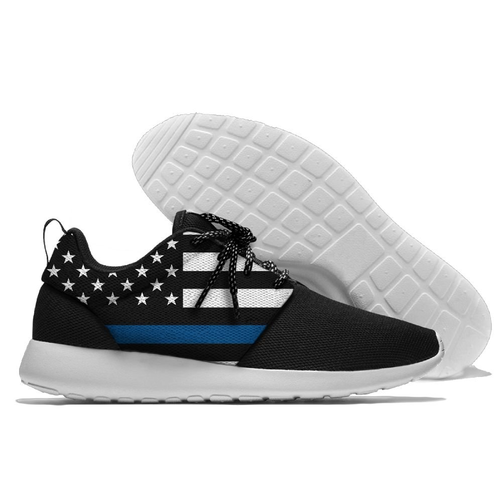 WANING MOON Thin Blue Line American Flag Mens Leisure Sport Shoes 3D Prints Shoes