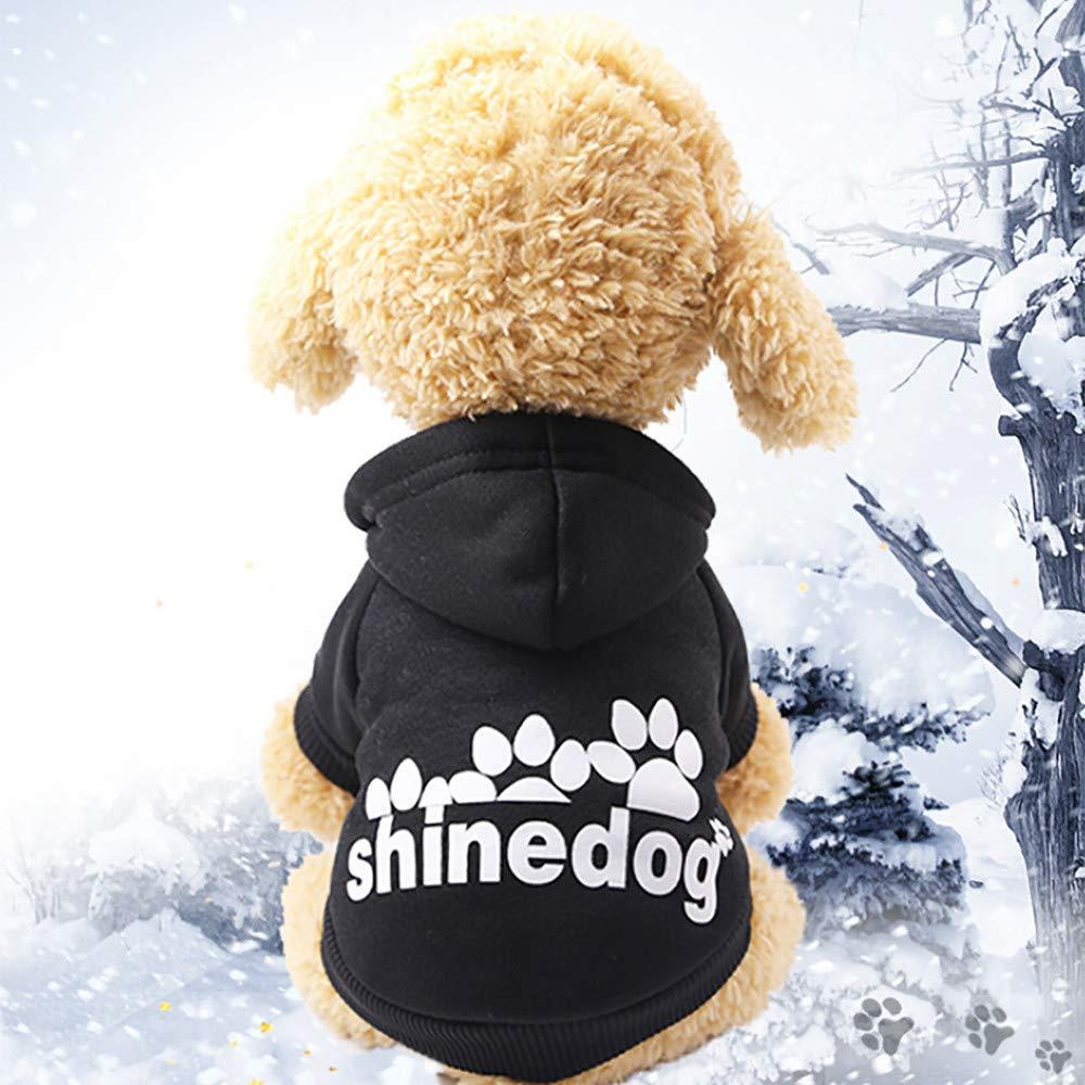 Glumes Pet Clothes, Puppy Hoodie Sweater Dog Coat Warm Sweatshirt Shine Dog Printed Shirt for Small Dog Medium Dog Or Cat (XS, Pink)