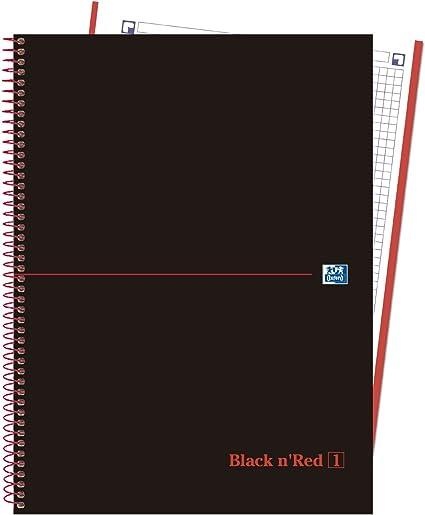 Oxford Black nRed 400088244 - Pack de 5 cuadernos en espiral, tapa extradura: Amazon.es: Oficina y papelería
