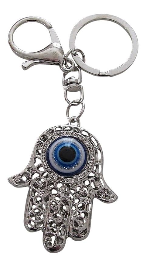 Joyas de bolsa, puerta llaves, mano de fatima, Fátima y anilla, acero plateado. Llavero fatima..