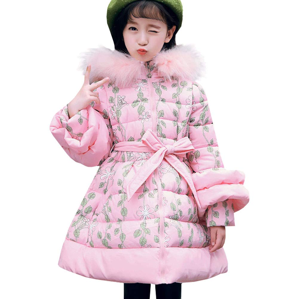 M&A Girls Long Puffer Jacket Thickened Winter Coat with Faux Fur Hood