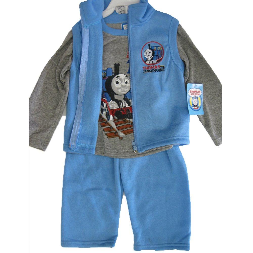 Thomas and Friends Little Boys Gray Blue Train Print Vest Shirt 3 Pc Pants Set 12-24M ABC Brand Name Inc.