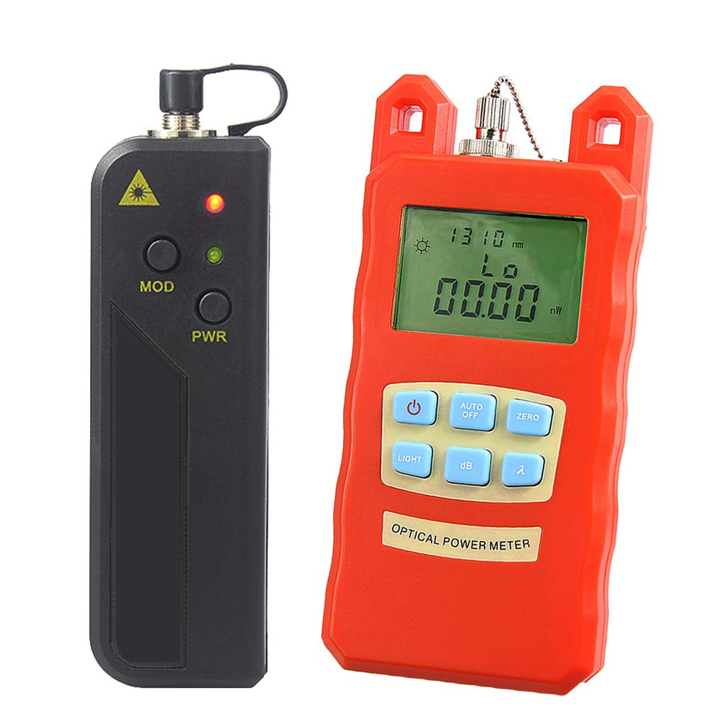 SM SunniMix -70dBm~+10dBm 850~1625nm Optical Power Meter Tester FC SC Handheld Optical Power Meter + with 30mW Visual Fault Locator by SM SunniMix (Image #1)
