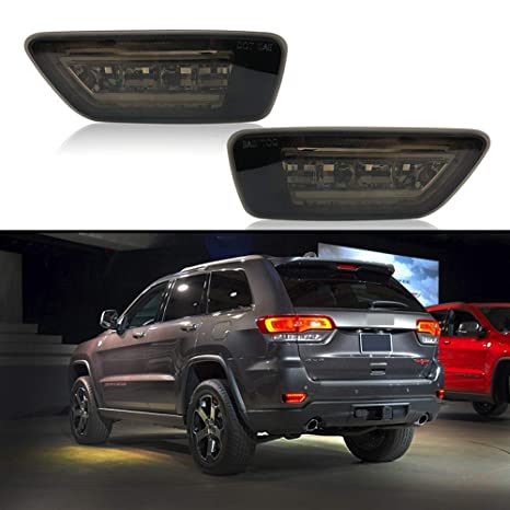 Car Led For Jeep Bumper Reflector Marker Lights For 2011 2018 Jeep Grand Cherokee Wk2 Compass And Dodge Rear Fog Brake Light Black Lens