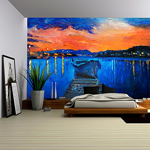 wall26 - Original Oil Painting of Boat and Jetty(Pier) on Canvas.Rich Golden Sunset over Ocean.Modern Impressionism - Removable Wall Mural | Self-adhesive Large Wallpaper - 66x96 inches (Pier Golden)