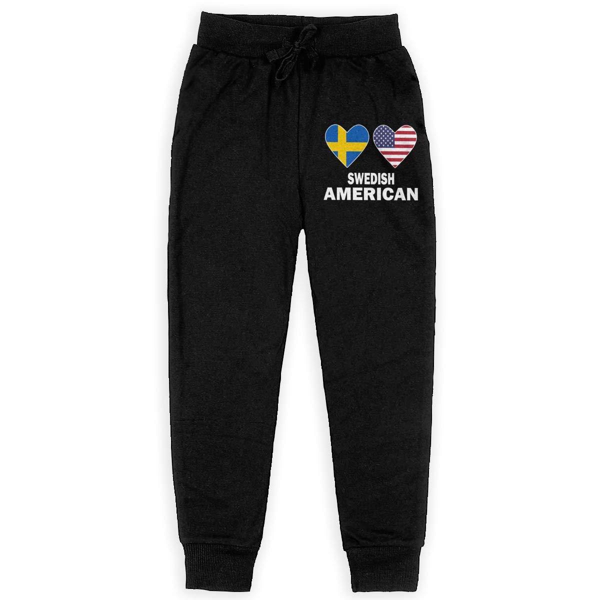 WYZVK22 Swedish American Hearts Soft//Cozy Sweatpants Boys Fleece Pants Teenager Boys