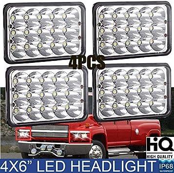 chevy c5500 headlamp wiring amazon com 4x6 rectangular sealed beam led headlights for  sealed beam led headlights