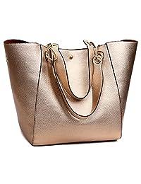 Tibes Fashion Waterproof Shoulder Bag Synthetic Leather Handbag Women Girls Large Tote Purse