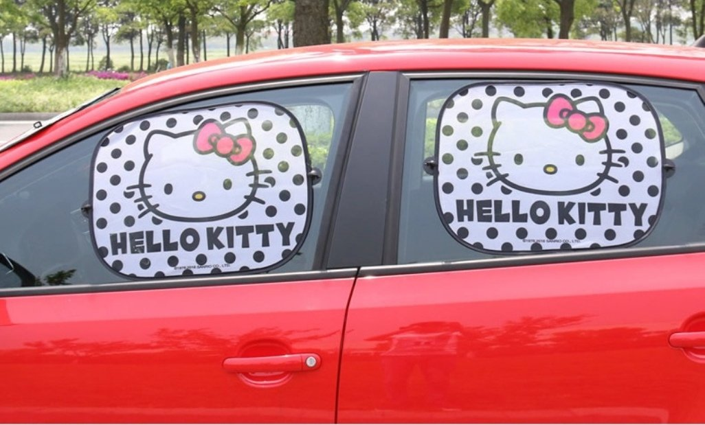 Par parasol plegable la ventana lateral del coche Sombrilla automá tico está tica Cling Protector para sol uso fá cil, Hello Kitty Black SEIWA