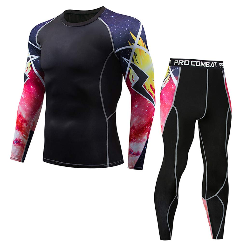 Athletic Running Cycling Tights Suit Mens Fitness Mountain Bike T-Shirt Pant Bodybuilding Skin Tight-Drying Top (4_Black, Small) by Hotcl