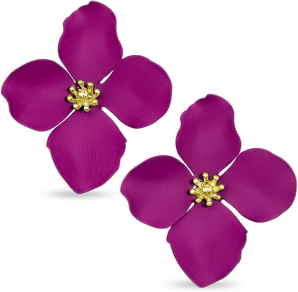 ZENZII Flower Petal Statement Gold Center Stud Earrings with for Women