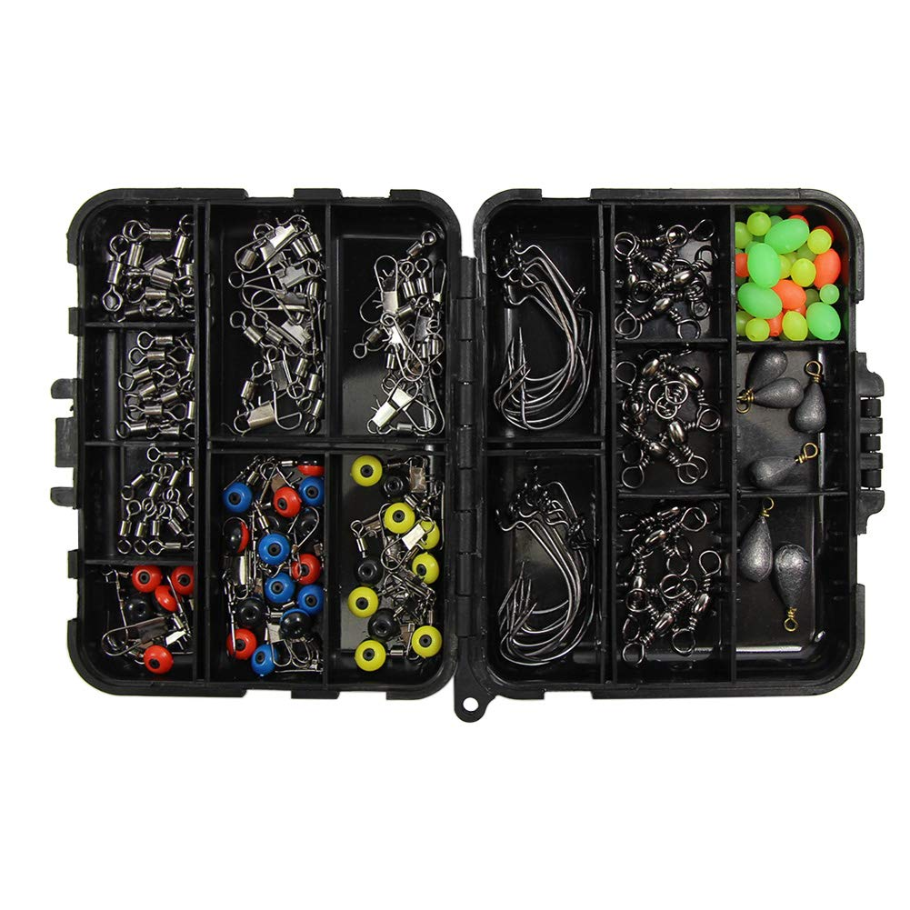 Bullet Bass Casting Sinker Weights Croch 160pcs//box Fishing Accessories kit with Tackle Box,Including Fishing Swivels Snaps Fishing Line Beads,Jig Hooks
