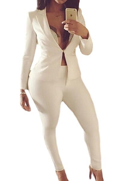La Mujer Formal Traje Chaqueta De Longitud Completa De 2 Piezas Traje De Pantalon Trabajo Conjunto