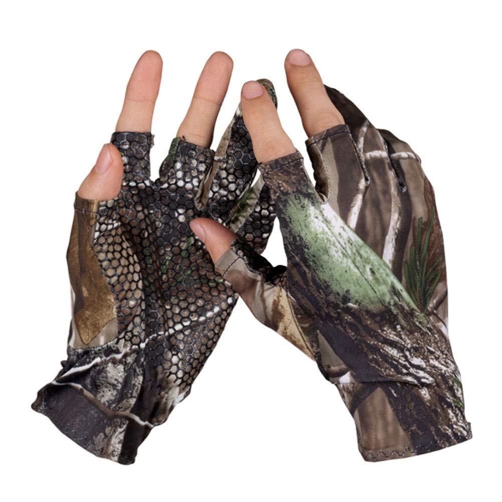 Gutyan Fingerless 3 Finger Handschuh Camo Anti Slip elastischen Jagd Angeln Handschuhe zum Angeln rutschfeste Outdoor-Sporthandschuhe