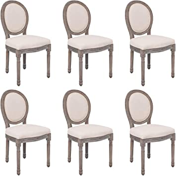 Amazon Com Lepeuxi Dining Chairs Set Of 6 Cream Fabric Dining Room Chairs Upholstered Dining Chairs Farmhouse Chairs Kitchen Chairs For Kitchen Dining Room Living Room Bedroom Chairs