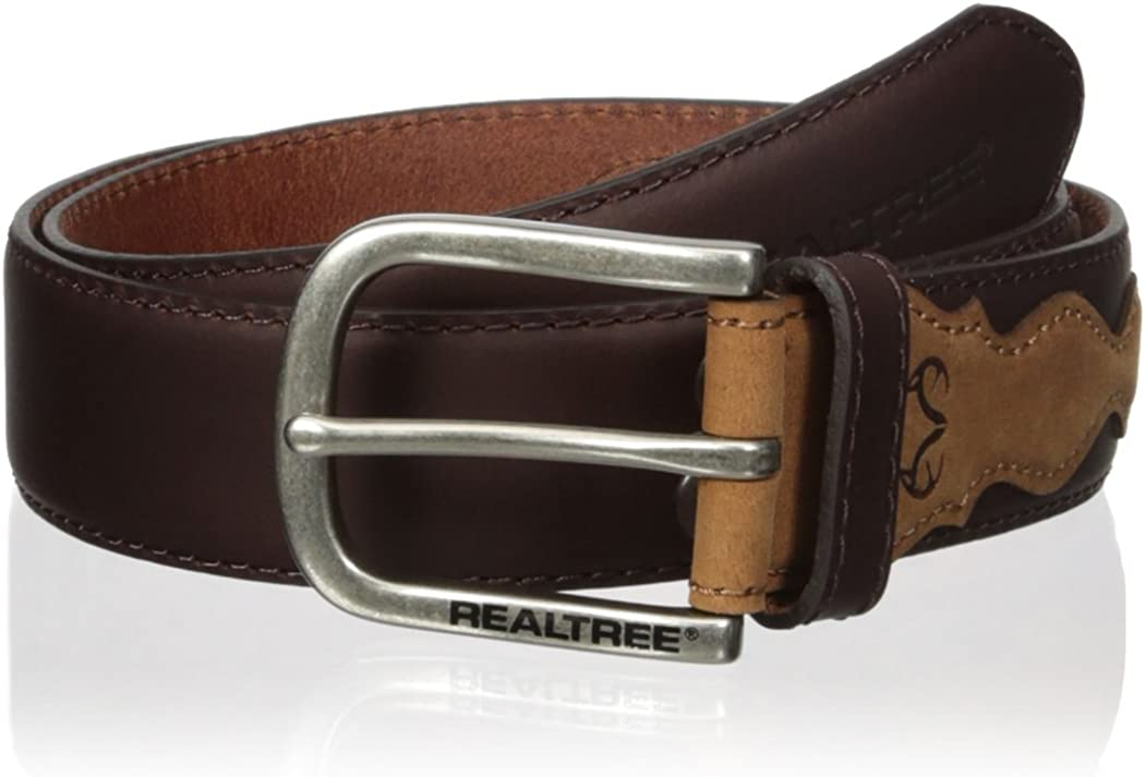 Real Tree Mens Stitched Genuine Leather Belt with Antler Conch