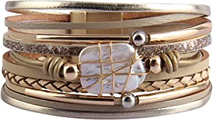 GelConnie Baroque Pearl Leather Cuff Bracelet Multi Strand Wrap Bracelets Magnetic Bohemian Bracelet for Women, Wife, Sister