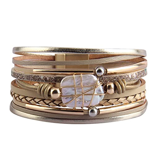 f40c4323741 Jenia Leather Cuff Bracelet Baroque Pearl Multi Strand Wrap Bracelets  Bohemian Bracelet with Magnetic Clasp for