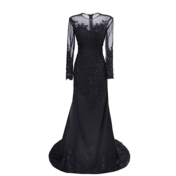 5ff871683881 Nina Ding Long Sleeve Black Mermaid Prom Dresses Sequins Lace Formal  Evening Gowns NND014 at Amazon